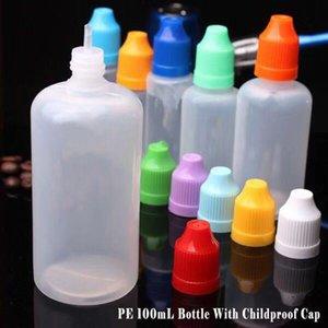 Hot Selling 100ml PE Plastic E Cig Ejuice Dropper Bottles Empty Eye Drop Bottles With Childproof Cap Needle Tip E liquid