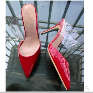 Neue Art Cusp Fine Heel Damenschuhe Sandalen Slipper Glas Gummi rot lackiert Schuhe mit hohen Absätzen 2019 8 cm 10 cm Arbeit rot unten Größe 44