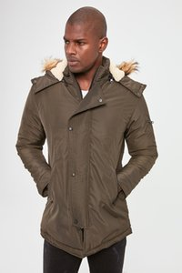 Trendyol masculino con capucha con cremallera frontal bolsillos de la chaqueta de abrigo abrigos Ropa TMNAW20KB0176 Trendyol masculino con capucha con cremallera frontal Bolsillos capa de los hombres