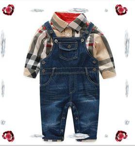 Bebek Boys Giyim Marka etiketi Pantolon Bebek Boys Ekose Gömlek Kot askı Pantolon Bebek Suit Çocuklar Kıyafetler Set 2PCS ayarlar Tops