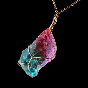 Oro collana colorata irregolare di modo dell'arcobaleno della pietra di cristallo naturale Chakra roccia placcato Ciondolo in Quarzo Home Decor C19041101