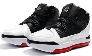 Новое поступление # 23 Lebron Zoom III 3 Home SuperBron Мужская баскетбольная обувь Высокого качества Белый Синий Красный Черный James 3s Спортивные кроссовки US7-12 00