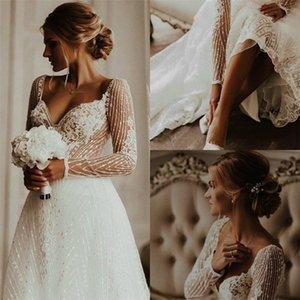 Elegant A Line Wedding Dresses Sweetheart Long Sleeves Full Appliqued Lace Bridal Dress Custom Made Sweep Train Beach Robes De Mariee