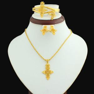Bijoux éthiopien Croix Pendentif Collier chaîne / Boucles d'oreilles / Bracelet / Bague 24K Or Couleur Femmes Africaines mariage