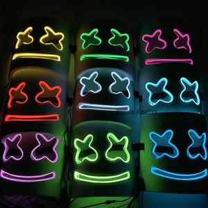 10 Renkler DJ Hatmi Işık Maskesi Moda Cadılar Bayramı Partisi Gece Kulübü EVA Beyaz Maske LED Cosplay Kostüm Kask Sahne