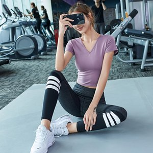 Yoga Clothing Woman Suit 2019 Speed Dry Hip Pants Running Sports Short Sleeve Slim Fit Gym Two-piece Set Woman