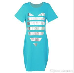 5XL 6XL vestito le donne vestiti casual allentata Summer Love maglietta Abiti Maniche corte Dress Plus Size