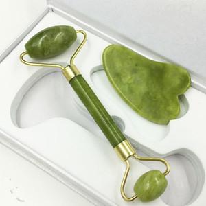 Natural Jade Gua Sha Board Roller viso viso collo dimagrante massaggiatore ringiovanisce saldato saldatore in metallo giada massaggiatore