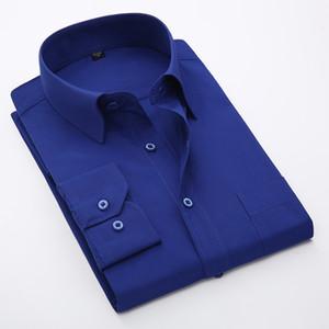 남성 비즈니스 솔리드 셔츠 플러스 사이즈 긴 소매 캐주얼 드레스 셔츠 큰 크기 7XL 8XL 정장 남성 탑스