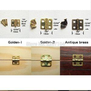 Al por mayor-12pcs Mini Small Light Golden Antique Brass Bronce Jewelry Chest Gift Music Box Caja de madera muebles Dollhouse Cabinet Door Bisagra
