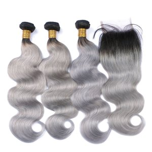 1B Gray Brazilian Virgin Hair With Closure Body Wave Ombre Human Hair 3 Bundles With Closures 4x4 Inch