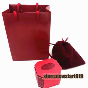 Винт любви красное кольцо упаковочная коробка с пейджером и бархатной сумкой