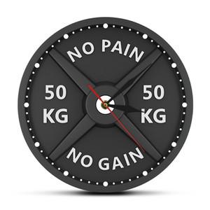 No Pain No Gain 50KG Barbell 3D Horloge murale moderne Haltérophilie Haltère culturisme mur Montre Gym Workout Strongman cadeau Y200109