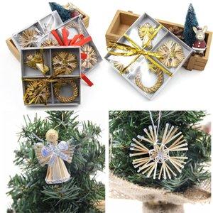 Stroh Engel Kranz Anhänger Christbaumschmuck Weihnachten Home Decoration Supply Weihnachtsgeschenk Box heiße Verkäufe # 15