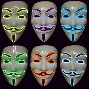 alambre de venganza EL MÁSCARA intermitente LED cosplay máscara del traje anónimo para que brilla baile máscaras del partido del carnaval DHF233