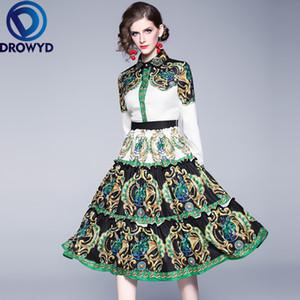 DROWYD Snordic Green Print Midi Dress Queen Casual Women Fashion Girl Boho Long-sleeve Pleated Office Lady Dresses 2019 Vestidos