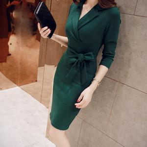 des femmes des dames minces costume bureau de mode robe costumes robe femme élégante rouge vert noir bandage Vestidos formales para el trabajo