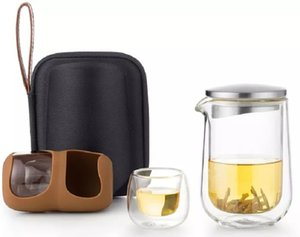 Durable Travelling Tea Set Portable Coffee and Tea Sets 260ml Borosilicate Glass Coffee Sets Stainless Steel Tea Pot and Cups