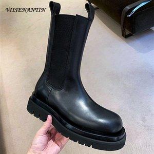 VIISENANTIN 2020 primavera otoño modelos botas de cuero Casual británico botas de fondo grueso manga femenina