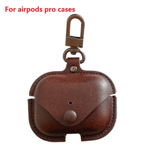 For Airpods Pro Cases Pu Leather Airpods 3 Cover Protective Earphone for Air Pods Pro Cover With Anti Lost Hook Clasp Keychain