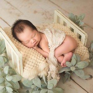 Neugeborene Props für Fotografie Holz Abnehmbare Bett Baby Fotografie Hintergrund Zubehör Flokati Neugeborenes Studio Props für Shoot CJ191213