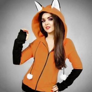Halloween Cosplay Costume Fox Women's Hoodie Long Sleeve Rabbit Ear Hoodie Spring and Autumn Sweatshirt Jacket Y200706
