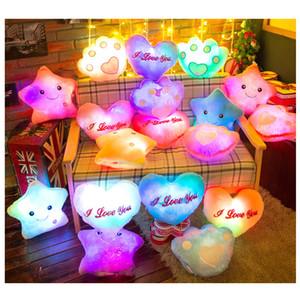 Luminous glühende Kissen-Stern-Herz Bear Paw LED-Licht-Plüsch-Kissen-Nachtlicht für Kinder Kissen Weihnachten Spielzeug XD23215