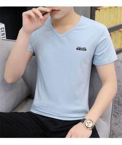 Diseñador para hombre Pure Color Camisetas Moda Carta Imprimir Mens Tees Casual Manga Corta Hombres V Cuello Ropa