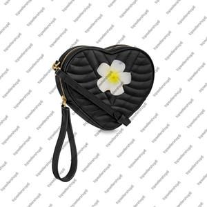 M52796 WAVE HEART BAG 여성 여성 송아지 가죽 핸드백 지갑 크로스 바디 클러치 팔찌 저녁 가방 어깨 가방