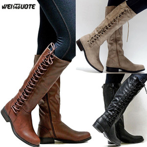 WEINUOTE Inverno Womens Outdoor equitação Botas Ladies Sexy Low Leather Botas Lace Up Motorcycle Over The Knee alta