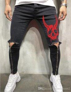 Mens SKULL Designer jeans gamba Zipper Fori Motociclista Skateboard Sport matita pantaloni Pantaloni
