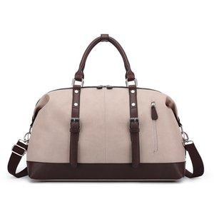 Bolso de la manera de la capacidad grande del recorrido del bolso mujeres de los hombres de la mano del recorrido del equipaje Bolsa de viaje bolsas de cuero impermeable del bolso de hombro multifunción