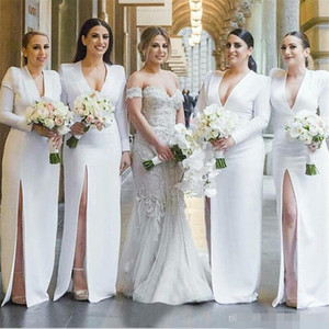 Длина Arabic белого платья невеста с длинными рукавами Боковых щелевого High Split Русалка V шеи длиной до пола атласных Maid Чести платья Страны свадебного банкета