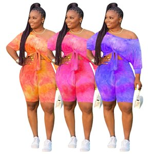 Womens Tracksuits Summer 2 Two Piece Short Outfits Set Off One Shoulder Bow-knot Crop Top Biker Shorts Clothes Plus Size Pink Black 68