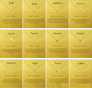 Fashion No Dogeared Logo With Card The Zodiac Sign Gold Plated Leo Aries  Virgo Pendant Chain Necklace Choker Clavicle Jewelry Gift female
