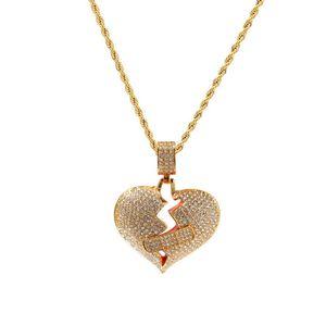 Hiphop Heart Pendants Men Necklace 2019 New Fashion Brand Designer Gioielli Ice Out Diamond Hip Hop Collane in oro