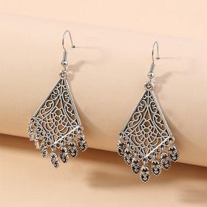 Women bohemian vintage long tassel metal earrings geometric heart-shaped water-drop fan-shaped flower dangler eardrop fashionable YD0530