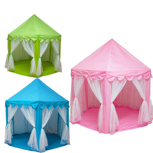 Princess Castle Play Tent Girls Kids Large Play Tents Hexagon Playhouse Toys Children Indoor Game House Bed Mosquito Net with mat
