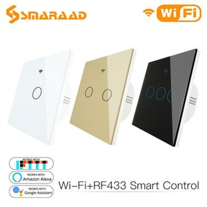 Smart WiFi Luz Wall Switch Vidro Painel RF433Wi-Fi inteligente Vida Tuya APP Remote Control trabalha com Alexa Página inicial do Google 1/2/3 Gang