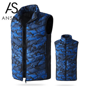 Aquecida elétrica Vest Men Aquecimento Colete Moda Camuflagem Imprimir acolchoado térmica quente Jacket Outdoor Inverno aquecedor USB Gilet