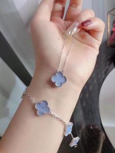 S925 чистого серебро Роскошного качество дизайн 5 цветок браслет с светло-фиолетовым цветом для женщин браслета и ромб Застежка подарка ювелирных изделий neckla