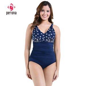 PERONA женщины плюс размер купальник бикини животик контроль танкини One Piece купальники Push Up Swimdress синий пляжная одежда купальный костюм