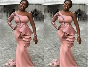 2020 Arabic Aso Ebi Sexy Lace Mermaid Evening Dresses Sheer Neck Cheap Prom Dresses Satin Formal Party Second Reception Gowns ZJ954