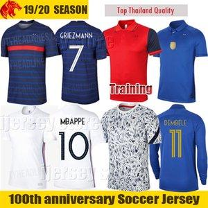 Euro 2020 Fransa Deplasman Kiti 100 Yıl MBAPPE Futbol Formaları GRIEZMANN HERNANDEZ Erkek Forması Çocuklar Kiti POGBA NDOMBELE KANTE Futbol Gömlek