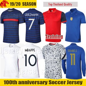 Euro 2020 France Maillot de foot 100 ans MBAPPE Maillots de foot GRIEZMANN HERNANDEZ Homme Maillot Enfants Kit POGBA NDOMBELE KANTE Maillot