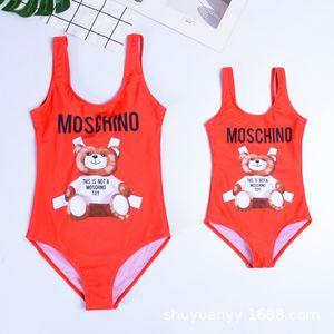 Designer de Mulheres Um Pedaço Swimsuit Meninas Maiôs Carta Urso Impressão Praia Swimwear Tankini Verão Biquíni Preto Vermelho