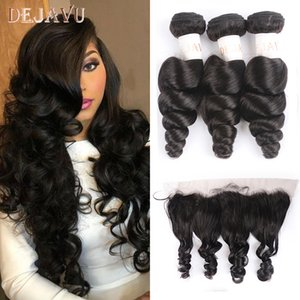 Cheap 3 4 Bundles with Closure Dejavu Brazilian Hair Weave Bundles With Frontal Closure 13*4 Inch Human Hair 3 Bundle Deals Loose Wave