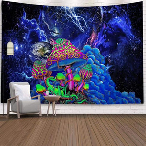 Space Mushroom Forest Castle Tapestry Fairytale Trippy Colorful Dragon Wall Hanging Tapestry for Home Deco Tapestry Mandala CX200630