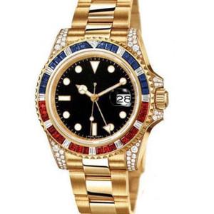 Top Meister machen Luxus GMT gold Farbe Diamant-Serie 40 mm Edelstahl automatische mechanische Männer Art und Weise wasserdichte Uhren