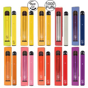 Authentic Myst sal mais 1000 + Dispositivo Puffs descartável Vape Pen 650mAh Battery 3,2 ml pré-cheia Kits Sistema portátil Vaporizadores de vapor